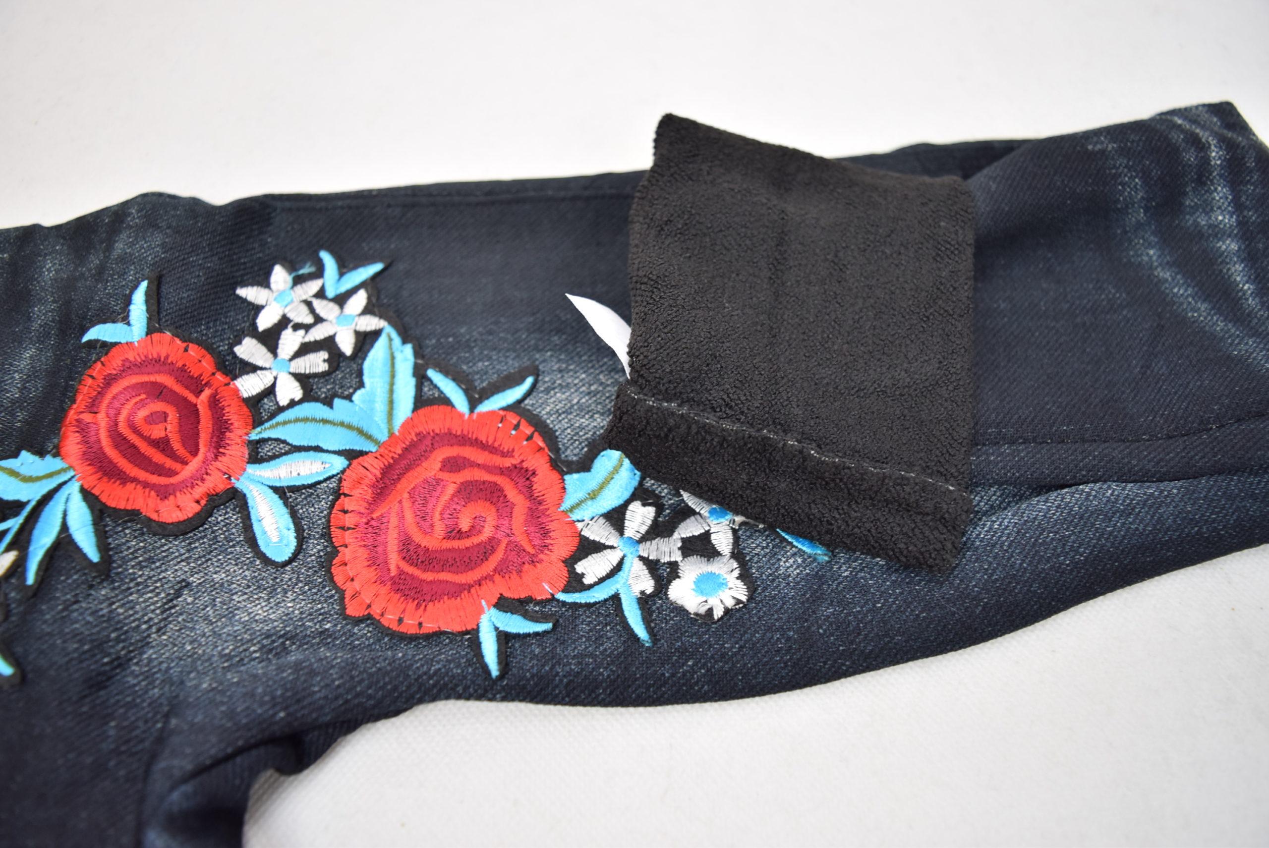 Legging Jean Polaire Intérieur Motif 2 Fleur Broderie (x12)